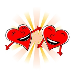 Laughing cartoon hearts vector image