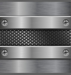 Metal brushed elements on perforated background vector