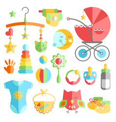 Newborn infant themed cute flat set baby care vector