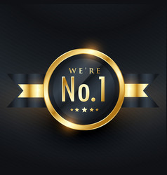 No 1 leadership business golden label design vector