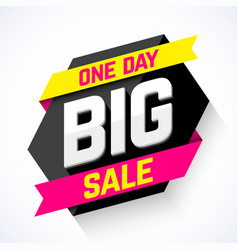 one day big sale banner vector image vector image