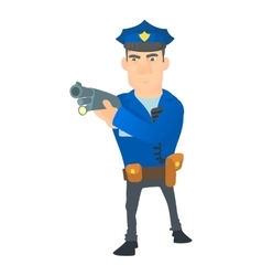 Policeman with gun icon cartoon style vector