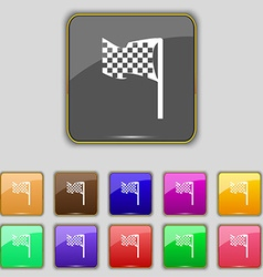 Racing flag icon sign set with eleven colored vector