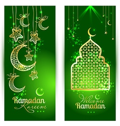 Ramadan kareem celebration greeting card decorated vector