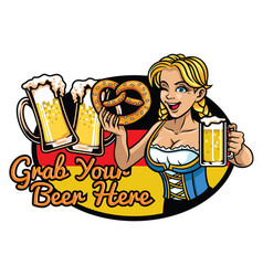 sexy bavarian girl presenting the beer vector image vector image