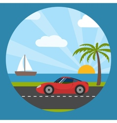Sports car on the seaside vector image vector image