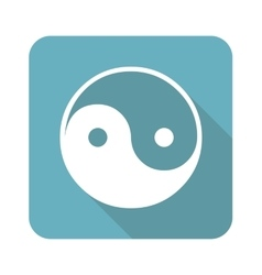 Square ying yang icon vector
