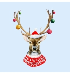 Watercolor christmas deer vector
