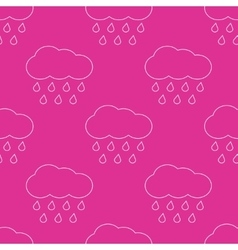 Outline rainy clouds seamless pattern vector image