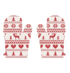 Knitted christmas mittens vector