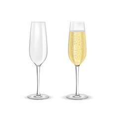 glass of sparkling wine champagne with bubbles vector image