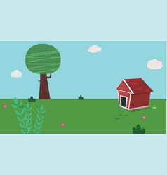 dog home in garden with sky vector image