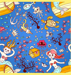 seamless pattern from mermaid girls with treasures vector image