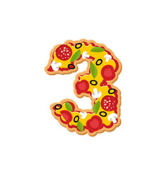 Number 3 pizza font italian meal alphabet numeral vector
