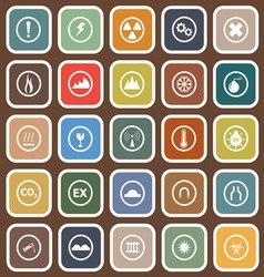 Warning flat icons on brown background vector