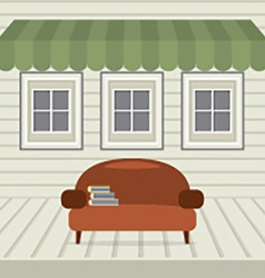 Empty sofa with books under awning and windows vector