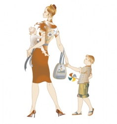 mother and children walking vector image