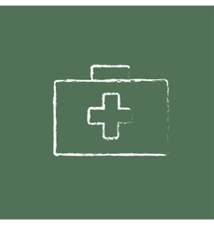 First aid kit icon drawn in chalk vector