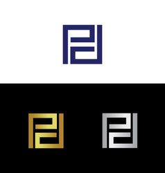 Initials with reflected letter p vector