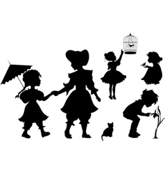 Set of silhouettes playing kids vector image