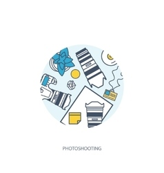 Photographer equipment on a table photography vector