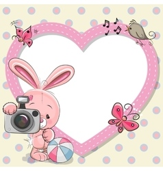 Rabbit with heart frame vector