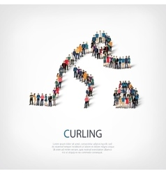People sports curling vector