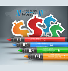 Abstract marker drawing dollar 3d infographics vector