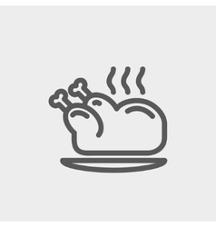 Baked whole chicken thin line icon vector image