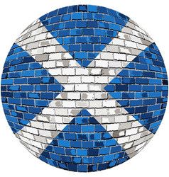 ball with scotland flag in brick style vector image