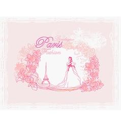 beautiful women Shopping in Paris - card vector image vector image