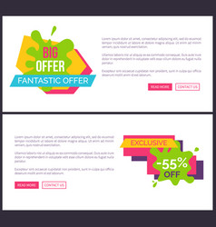 Big offer poster webpage set vector
