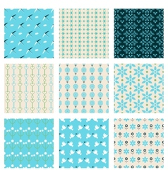 birds and flowers patterns vector image