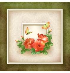 Border frame background flower butterfly design vector image vector image