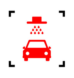 Car wash sign red icon inside black focus vector