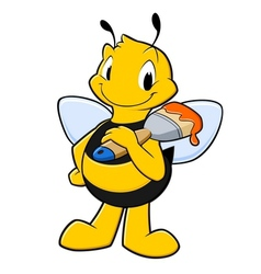 Cartoon painter bee vector