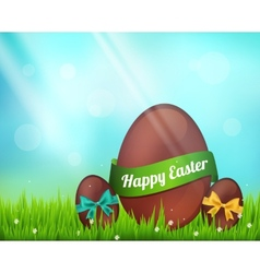 chocolate easter eggs on green vector image