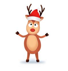 christmas reindeer in christmas hat cute and vector image
