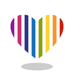 Colorful striped heart icon with drop shadow vector image