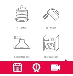 Dishwasher kitchen hood and mixer icons vector