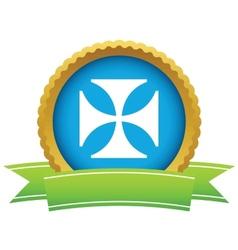 Gold religion cross logo vector image