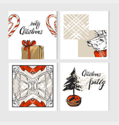 hand drawn abstract merry christmas vector image vector image