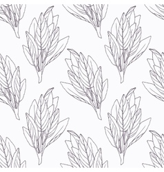 Hand drawn sage branch outline seamless pattern vector