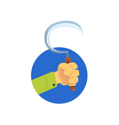 hand holding sickle symbol of the profession of a vector image