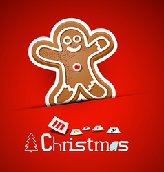 Merry christmas card gingerbread man on red vector