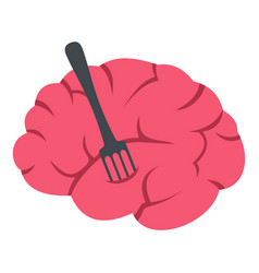 Pink brain with fork icon isolated vector