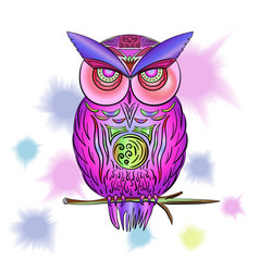 Pink owl with watercolor stains vector