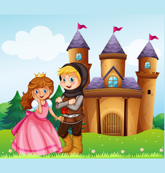 prince and princess at the castle vector image vector image