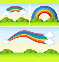 rainbow shapes over the park vector image