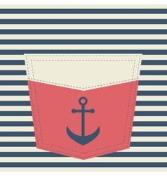 red pocket with anchor vector image vector image
